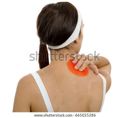 a young woman suffering from pain in shoulder