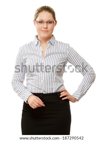 A young woman wearing glasses standing , isolated on white background - stock photo