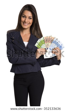 A young woman with euro money in her hands, isolated on white background.