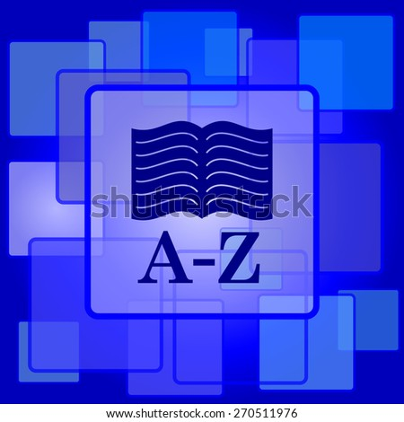 A-Z book icon. Internet button on abstract background.  - stock photo