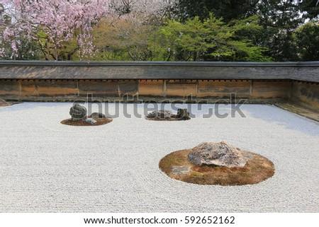 Zen Rock Garden Ryoanji Temple Garden Stock Photo Royalty Free