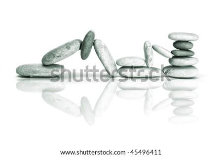 a zen stones on a white background - stock photo