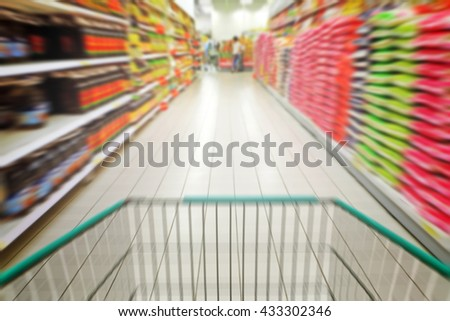 A zoom perspective view of a shopping cart wheeling through a supermarket aisle.