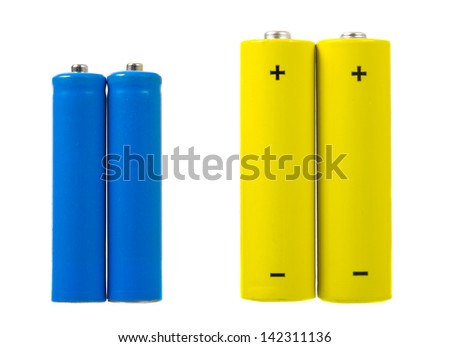 AA and AAA sized batteries - stock photo