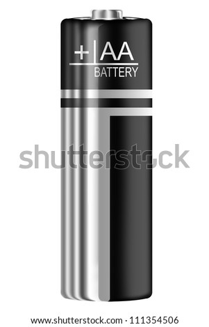AA Battery silver and black digital paintin on white background - stock photo