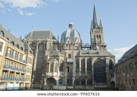 Aachen cathedral is the oldest Roman Catholic church in northern Europe ,europe. - stock photo