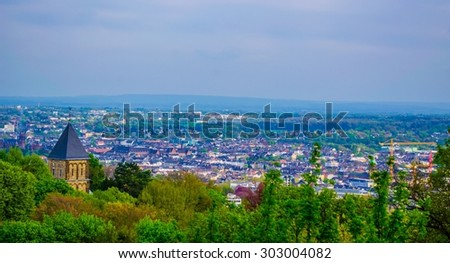 AACHEN, GERMANY, APRIL 6, 2014: View over city of aachen taken from hilltop nearby