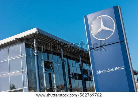 AACHEN, GERMANY FEBRUARY, 2017: Office of official dealer Mercedes-Benz. Mercedes-Benz is a German automobile manufacturer.