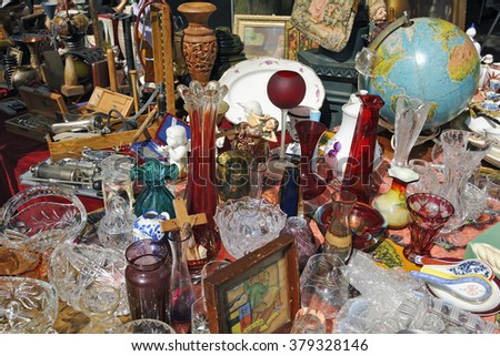 AACHEN, GERMANY - JULY 22, 2012: Bric a brac and antiques for sale at Aachen flea market, Germany