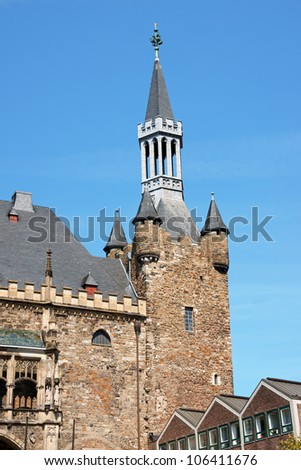 Aachen Town Hall, in gothic style, was built by citizens on the ruins of Charlemagne's Palace in the 14th Century. - stock photo