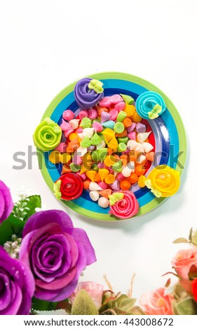 Aalaw(Thai dessert) Candy Colorful,With beautiful flowers On a white background