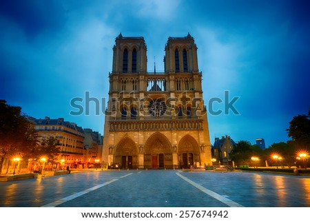 Aarea near Notre-Dame de Paris at night - stock photo