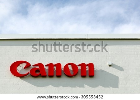Aarhus, Denmark - August 8, 2015: Canon logo on a facade. Canon is a Japanese multinational corporation specialized in the manufacture of imaging and optical products