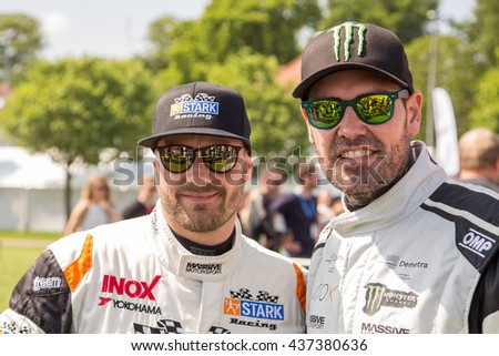 AARHUS, DENMARK - MAY 28 2016: Casper Elgaard and Shane Lynch (Boyzone) at the Classic Race Aarhus 2016 - participating in the DTC championship race