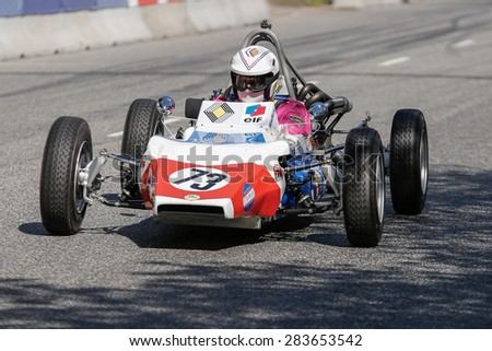 AARHUS, DENMARK - MAY 24 2015: Randall Lawson in a Renault GRAC formula one racing car from 1972 at the Classic Race Aarhus 2015 - stock photo