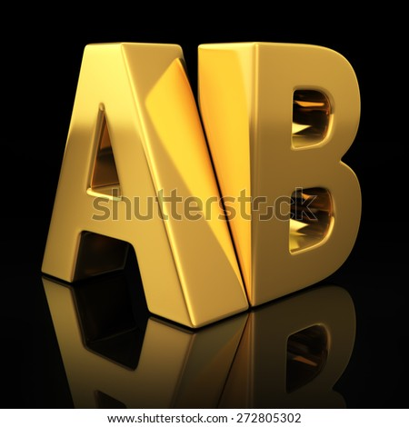 AB letters on black background with reflection. Split test versions concept - stock photo