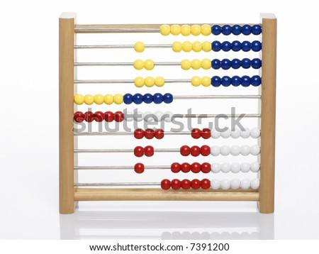 abacus forming an arrow isolated on white background