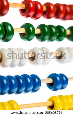 Abacus in detail isolated on white background - stock photo