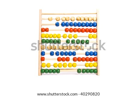 Abacus on isolated white background for counting