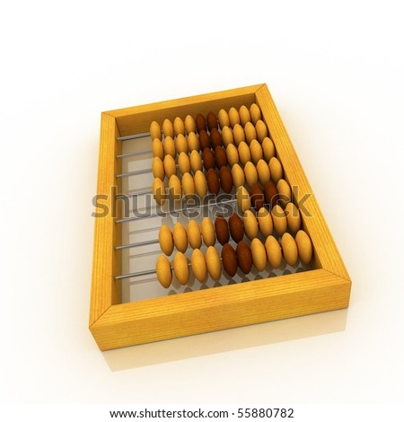 Abacus. White background, 3d render