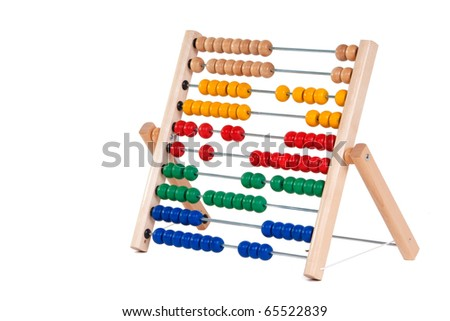 Abacus with many colorful beads - stock photo