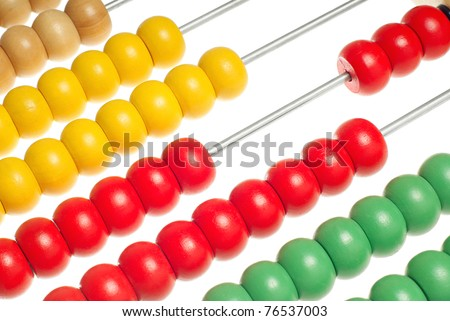 Abacus with many colorful beads isolated over white background - stock photo