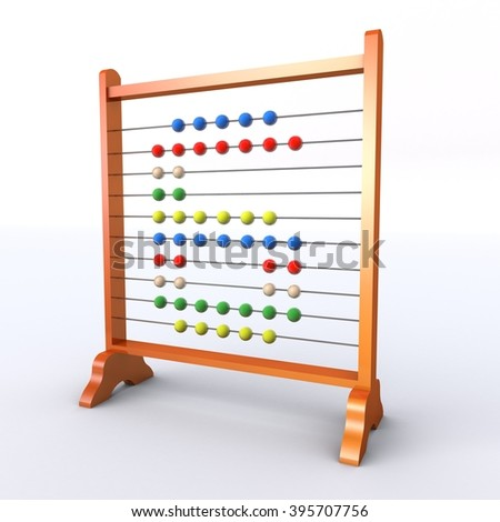 Abacus with multicoloured beads in the shape of a number six