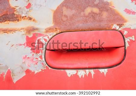 Abandon car, Old broken rusty red car - stock photo
