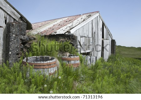 Abandon old house in green grass - stock photo