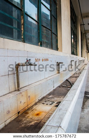 Abandon tap water in the school  - stock photo