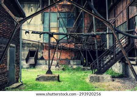 Abandonded coal mine site in the city of Ostrava, Czech republic. - stock photo
