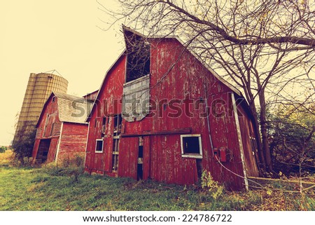Abandoned American Red Barn - stock photo