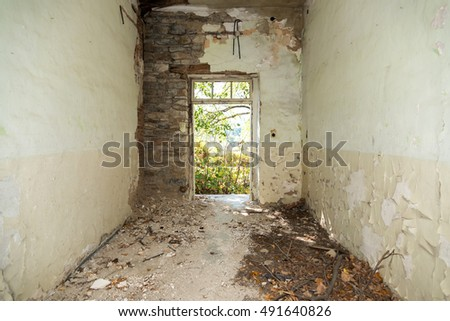 Abandoned and destroyed room - selective focus, copy space