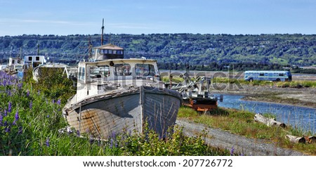 Abandoned boat in Alaska, Kenai Peninsula - stock photo