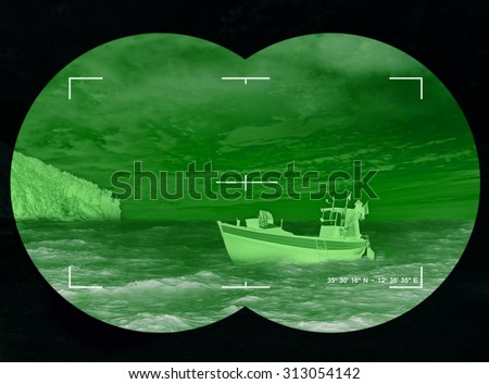 Abandoned boat on the coast - refugees risking lives to find new homes or life due to persecution. - stock photo