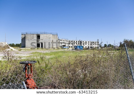 Abandoned building during construction due to recession - stock photo