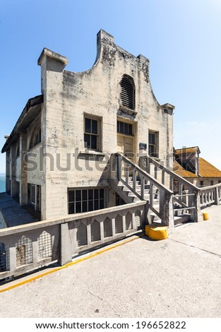 Abandoned building in Alcatraz prison
