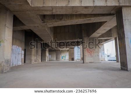 abandoned building interior - stock photo