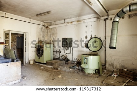 abandoned building,   old laundry - stock photo