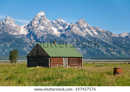 Abandoned cabin in the Grand Teton National Park, Wyoming. - stock photo