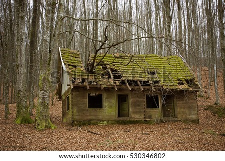Abandoned cabin (once it was partisans printing office) in woods near Petrova gora, Croatia