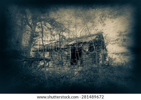 Abandoned cabin with creepy duaflex camera effect and scratches  - stock photo