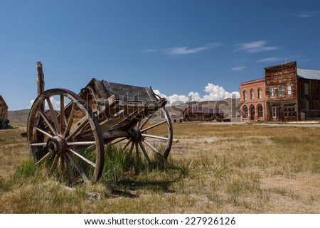 Abandoned carriage, Bodie ghost town, California, USA - stock photo