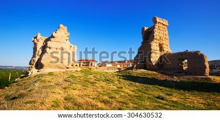 abandoned castle of Palenzuela.  Province of Burgos,  Spain - stock photo