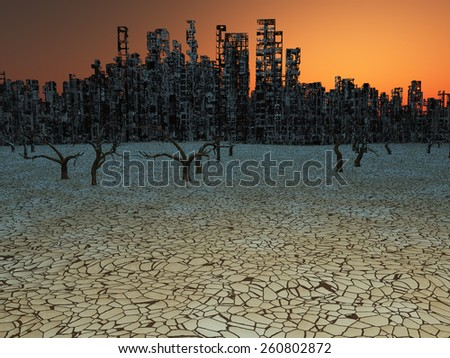 Abandoned City - stock photo