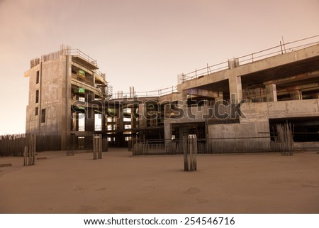 Abandoned construction site at night. Dubai, United Arab Emirates - stock photo
