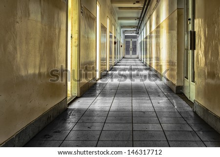 abandoned corridor - stock photo