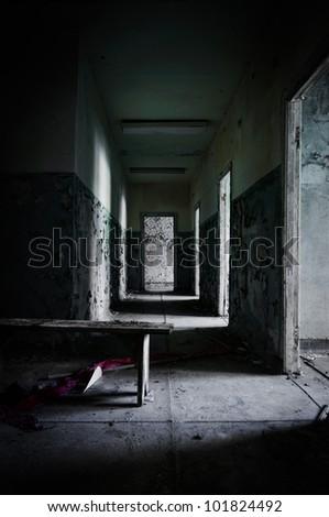 Abandoned corridor in pripyat school 2012 - stock photo