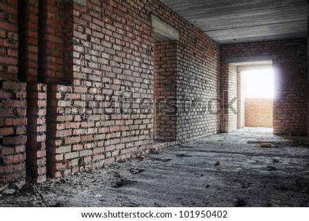 abandoned corridor, urban background - stock photo