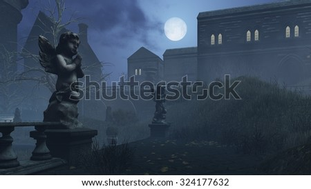 Abandoned courtyard of the old creepy mansion at moonlight night. Cupid's sculpture on foreground. Realistic 3D illustration was done from my own 3D rendering file. - stock photo